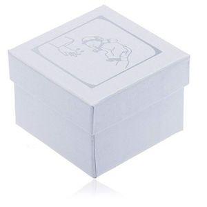 Cutiuță de cadou albă sidefată pentru cercei - motiv argintiu pentru botez imagine
