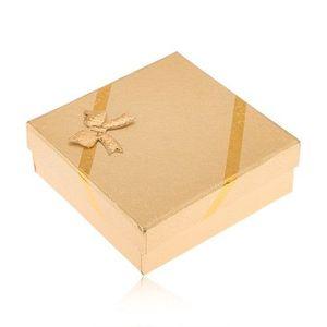 Cutiuță de cadou aurie pentru bijuterii, aspect de material, fundiță imagine