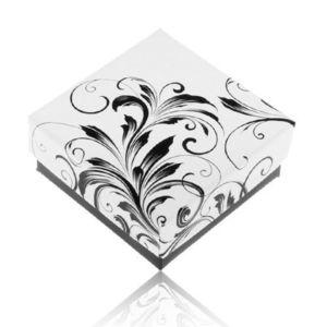 Cutiuță de cadou negru cu alb pentru inel, ornamente florale imagine