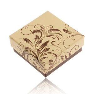 Cutiuță de cadou pentru inel sau cercei, culori crem și maro, ornamente florale imagine