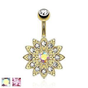 Piercing de buric, oțel 316L, floare din zirconii strălucitoare - Culoare Piercing: Curcubeu imagine