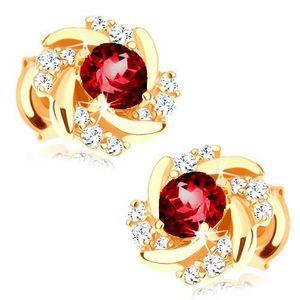 Cercei cu șuruburi din aur 585 - floare formată din rubin roșu, petale răsucite imagine