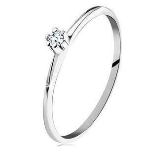 Inel din aur alb de 14K - braţe lucioase plate, diamant rotund, transparent - Marime inel: 49 imagine