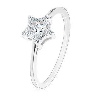 Inel de logodnă din argint 925, braţe înguste strălucitoare, zirconiu rotund - Marime inel: 49 imagine