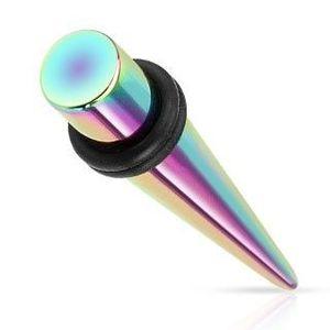 Expander din oțel 316L pentru ureche, culorile curcubeului, suprafață din titan - Lățime: 1.6 mm imagine