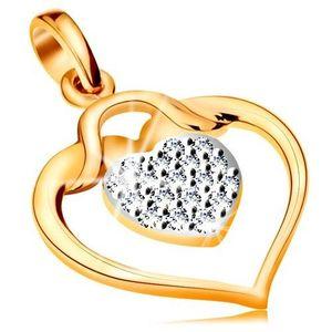 Pandantiv realizat din aur 585 - contur lucios in formă de inimă cu o inimă mică din zirconiu în interior imagine