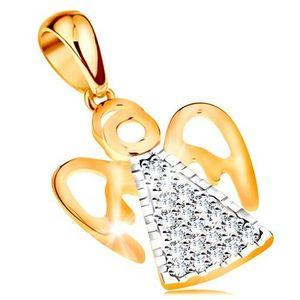 Pandantiv din aur de 14K - inger cu aripi decupate, zirconii imagine