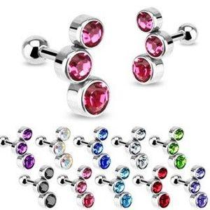 Pereche de piercing-uri din oțel pentru ureche, trei zirconii rotunde, diverse culori - Culoare zirconiu piercing: Albastru - B imagine
