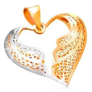 Pandantiv din aur 585 - inimă filigranată cu aripi de înger bicolore imagine
