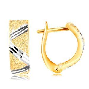 Cercei de aur de 14 K - suprafață aspră, linie zig-zag din aur alb imagine