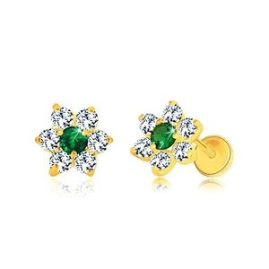 Cercei din aur 585 - floare din zirconii, zirconiu verde smarald în centru, închidere de tip fluturaș imagine