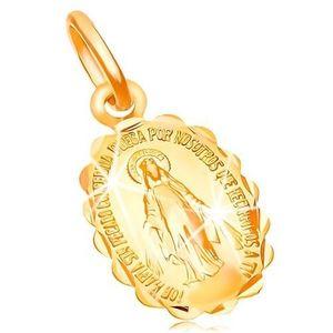 Pandantiv din aur galben 18K - medalion cu două fețe cu Fecioara Maria imagine