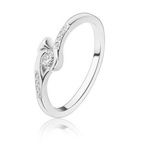 Inel din argint 925, zirconiu rotund transparent, brațe transparente din zirconiu - Marime inel: 49 imagine
