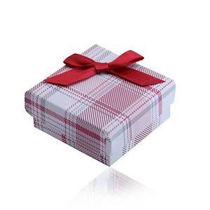 Cutie de cadou pentru inel, cercei și pandantiv, pandantiv și lanț, model roșu în carouri, fundă imagine