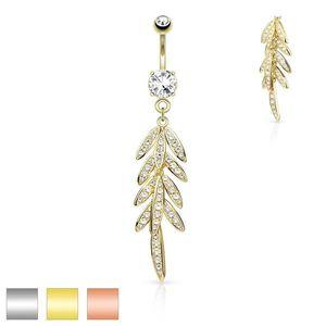 Piercing pentru buric din oțel inoxidabil - frunze cu zirconii, zirconiu strălucitor în montură - Culoare Piercing: Argintiu imagine