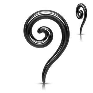Expander pentru ureche de oțel într-o culoare neagră - spirală răsucită netedă - Diametru piercing: 2 mm imagine