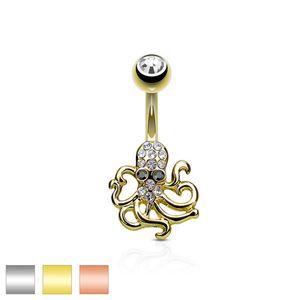 Piercing pentru buric din oțel - caracatiță, zirconii clare și negre - Culoare Piercing: Argintiu imagine