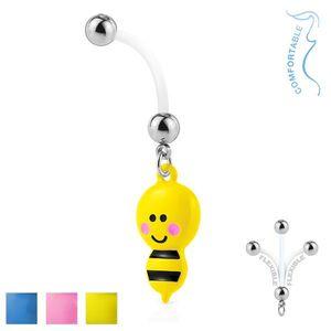 Piercing pentru buric din bioflex - bile din oțel, albină cu ac - Culoare Piercing: Albastru imagine