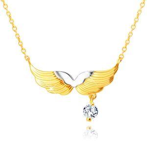Colier din aur combinat 585 - aripi de înger, zirconiu rotund clar imagine