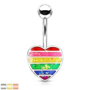 Piercing pentru buric din oțel - inimă cu smalț curcubeu și sclipici - Culoare Piercing: Argintiu imagine