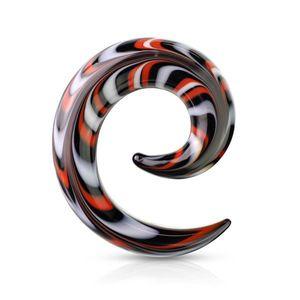 Expander pentru urechi spiralat din sticlă - modele colorate alb, roșu și negru - Lățime: 10 mm imagine