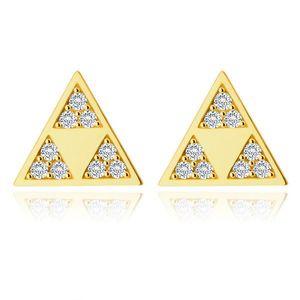 Cercei din aur 585 - triunghi strălucitor cu trei triunghiuri mai mici într-un decupat, zirconii mici imagine