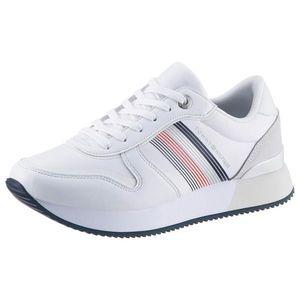 TOMMY HILFIGER Sneaker low 'ANNIE' alb / roșu / navy / gri imagine