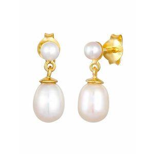 ELLI PREMIUM Cercei alb perlă / auriu imagine