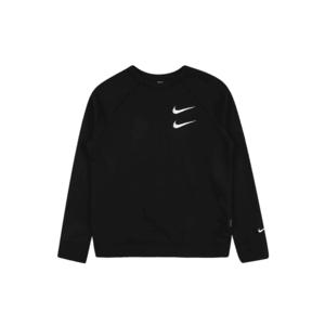 Nike Sportswear Bluză de molton negru / alb / roşu închis imagine