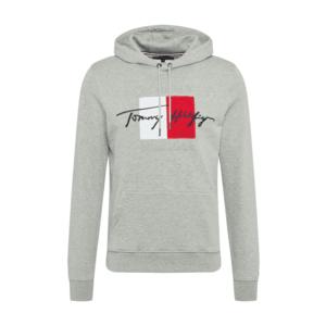 TOMMY HILFIGER Bluză de molton gri deschis / roșu / alb / navy imagine