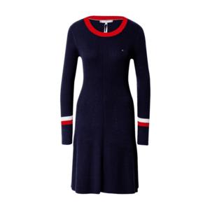 TOMMY HILFIGER Rochie tricotat albastru închis / alb / roșu imagine