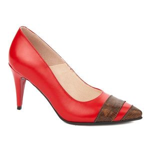 Pantofi toc subtire din piele naturala rosie 4296 imagine