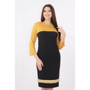 Rochie din stofa elastica neagra cu dantela mustar imagine