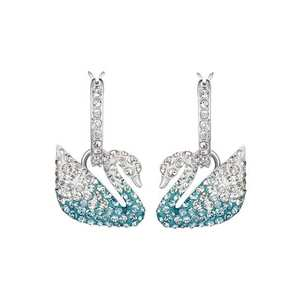 Swarovski Cercei 'Iconic Swan' turcoaz / argintiu / transparent imagine