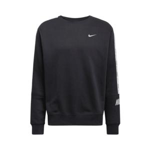 Nike Sportswear Bluză de molton negru / alb / gri deschis imagine