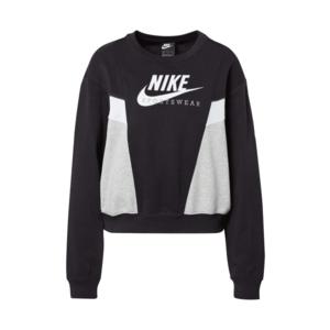 Nike Sportswear Bluză de molton 'Heritage' negru / alb / gri / albastru imagine