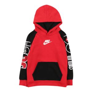 Nike Sportswear Bluză de molton negru / roșu / alb / gri imagine