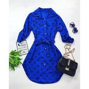 Rochie scurta casual de zi albastra cu imprimeu si cordon imagine