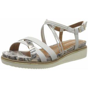 TAMARIS Sandale cu baretă alb / bej / maro / argintiu imagine