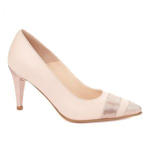 Pantofi toc subtire din piele naturala roz pudra 4323 imagine