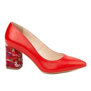 Pantofi dama toc gros din piele naturala rosie 4816 imagine