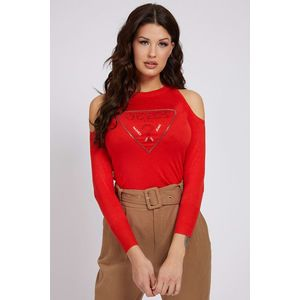 Guess roșii pulover Cut-Out Sleeves Triangle Logo - S imagine