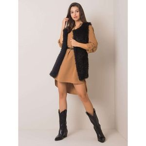 Black faux fur vest imagine