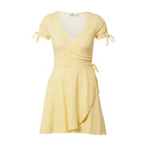HOLLISTER Rochie de vară galben / alb imagine