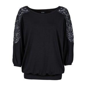 Bluză oversize cu dantelă imagine