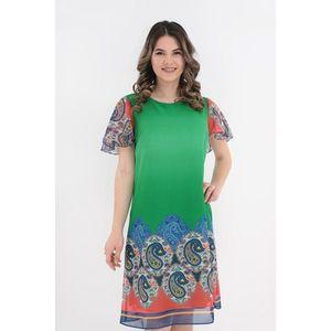 Rochie lejera din voal verde cu bordura multicolor imagine