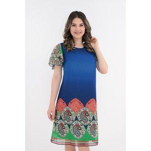 Rochie lejera din voal albastru cu bordura multicolora imagine
