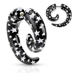 Expander fals pentru ureche - spirală neagră cu stele albe imagine
