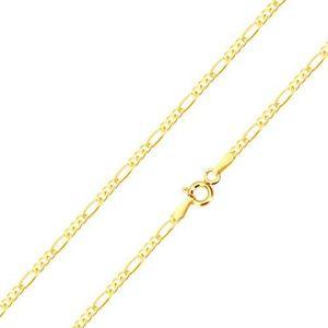 Lanț din aur galben 14K, trei ochiuri mici și o za alungită, 450 mm imagine