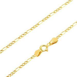 Lanţ din aur galben 14K - trei ochiuri mici şi un ochi alungit, 550 mm imagine